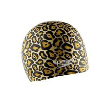 Speedo Silicone Hydro Tribe Swimming Swim Cap - Gold, Stretch Fit, Lightweight