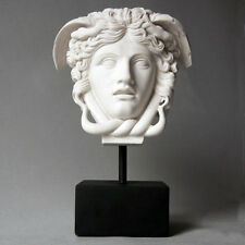 "Greek Medusa Bust Head On Base 11"" Museum Sculpture Replica Reproduction"
