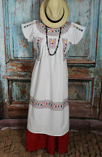White Embroidered Dress, Albarradas Oaxaca Mexico Hippie Boho Santa Fe Style