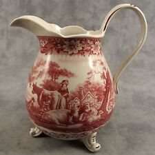 RED & CREAM TRANSFERWARE VICTORIAN PASTORAL COUNTRY FARM TOILE PITCHER ~32 Oz.~