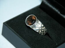 LOT 269 STUNNING CIRCULAR SMOKY QUARTZ SOLID STERLING SILVER RING SIZE J