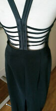 Vintage black fitted long bodycon cut out caged open  back dress gown 14 L  XL
