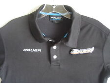 Bauer Team Anaheim Mighty Ducks Stitched Black Polo Shirt Mens XS Xtra Small NHL