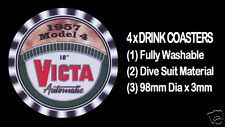 4 x VICTA MOWER HANDLE BADGE 1957 MODEL 4 AUTOMATIC, DRINK COASTERS - Re-usable