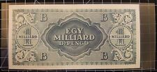 ✔ 1946 Hungary Egy Milliard B.-Pengo One Side Error Note 100 Quintillion Pengo