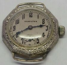 Vintage Art Deco HAMILTON 14k White Gold Filled Ladies Watch Working
