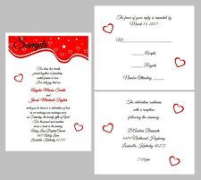 100 Personalized Custom Red Hearts Border Bridal Wedding Invitations Cards Set