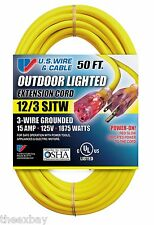 50' 12/3 Foot HEAVY DUTY Lighted Ends Electrical Extension Power Cord Outdoor