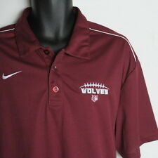 NEW NIKE Dri Fit Wolves Football Polo Shirt Mens XL Burgundy Red Short Sleeve