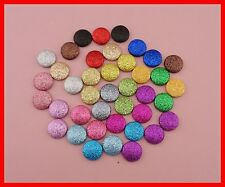 50PCS multi dark colors 20mm round glitter covered button with flat back