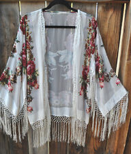 HAND BEADED ROSES SILK VELVET BURNOUT ART TO WEAR KIMONO JACKET IN WHITE, OS+!