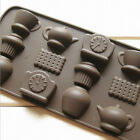 New 12 Holes Tea Cup Clock Teapot Silicone Cake Mold Ice Chocolate Mould DIY