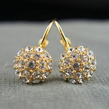 18k Gold GF Swarovski elements dangle drop crystals balls earrings