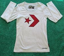 CONVERSE Size L 14 Womens White Scoop Neck Long Sleeve Top NEW