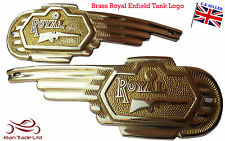 New Royal Enfield Petrol Fuel BRASS TANK LOGO Bage Decal Emblem Monogram PAIR