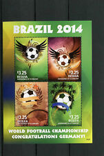 Bequia Grenadines Vincent 2014 MNH World Cup Football Brazil Winner Germany 4vMS