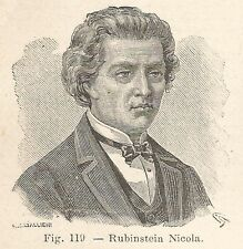 B2300 Nikolaj Rubinstein - Ritratto - Incisione antica del 1930 - Engraving