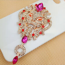 New Fashion Lion Crystal Bling DIY Cell Phone Case Decor Kit With Ruby Pendent