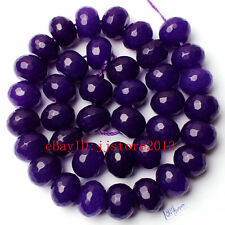 10x14mm Deep Purple Jade Faceted Rondelle Shape Gemstone Loose Beads Strand 15""