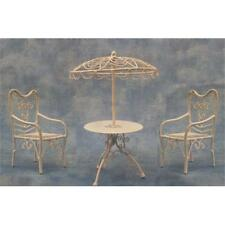 12th Scale White Parasol Table and 2 Chairs For Dolls Houses etc. DF574