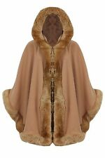 WOMENS CELEBRITY PONCHO LADIES DESIGNER FAUX FUR TRIM HOODED CAPE SHAWL COAT
