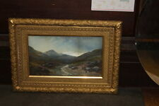 Antique Mountain Charcoal Painting E Percy 3 pc FANCY Gilded Frame 1870