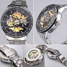 UK Men's SILVER Engrave Dial Self-Winding Mechanical Sport Wrist Watch