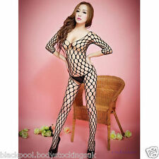 Sexy black Women's Fishnet Open Crotch Body Stocking Bodysuit uk size 6 to 14...