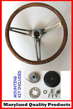 "1960 - 1969 Chevy Chevrolet Pick Up Grant Steering Wheel Walnut Wood 15"" Red/Blk"