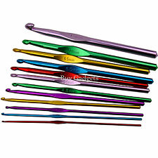 12 Piezas Coloridas Aluminio Crochet Agujas Set Tejer Coser GANCHOS, 2 a 8 mm