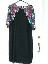 Stenay plus vintage beaded & sequin dress in black with floral pattern size 18.