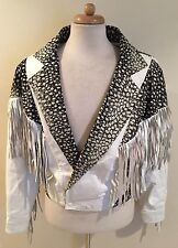 Rare VTG Kiss White Leather Prints Fringe Western Easy Rider Crop Coat Jacket M