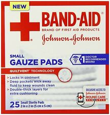 Band-Aid First Aid Small Gauze Pads, 2 In X 2 In, 25 Count