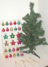 "18"" MINI ARTIFICIAL CHRISTMAS TREE 26 Reds Green Gold Ornaments New in Box"