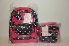 Pottery Barn Kids Hearts Pink & Black LARGE Backpack & Classic Lunch Box NWT