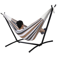 Double Hammock With Space Saving Steel Stand Includes Portable Carry Bag Ne