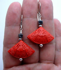 Exqusite Red Cinnabar W. Black Hematite Sterling Silver Earrings A0920
