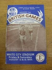 12/08/1955 Athletics Programme: Great Britain v Hungary - 12th & 13th August [At