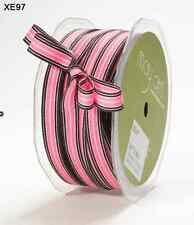 "3/8"" Grosgrain Striped Ribbon – May Arts - XE93 Pink/Brown - 50Yds"