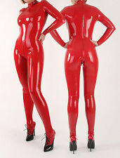 100%Latex Rubber Red Suit Full-body Catsuit Zipper Bodysuit Tights Size XS~XXL