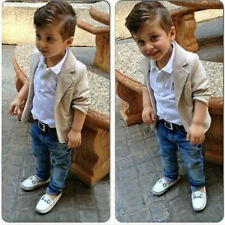3PCS Toddler Baby Boy gentleman suit coat+T-shirt+denim pants Outfits & Sets