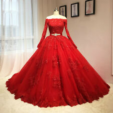 Long Sleeve Off Shoulder Red Wedding Dresses Applique Prom Quinceanera Ball Gown