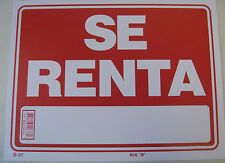 "Se Renta renters sign 9""x12"" Red flexible plastic 12637"