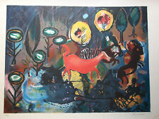 lithographie signee et numerotee dnas un style evoquant Chagall