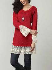 """Reborn plus size XL UK14/16 (42"""" chest) red knitted crew neck tunic jumper"""