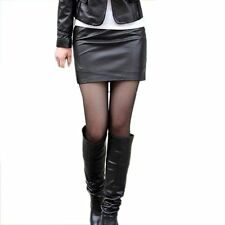 Sexy Black Faux Leather Mini Stretch Skirt Casual Rock Party Clubwear Size 8 #1