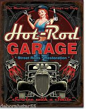 Hot-Rod Street-Rods Pistons Garage Vintage Weathered Metal Tin Sign Large 1990