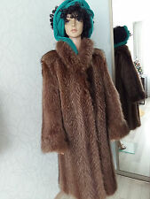 Vtg Real Golden Brown Raccoon Fur Coat Echt Pelz Waschbär Mantel Pelliccia Шуба