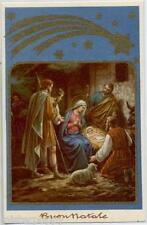 Buone Natale Pastori in visita a Gesù Bambino Presepe Xmas PC Circa 1930 Italy 2