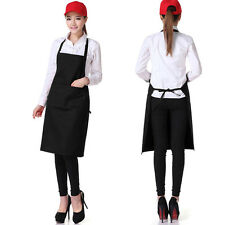 Women Muti-color Cooking Kitchen Unisex Restaurant Bib Apron Dress with Pocket